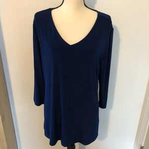 Chico's travelers royal blue pull over blouse Sz L